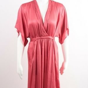 Zara Womens Satin Effect Dress M Pink Midi NWT